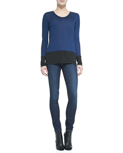 Vince Colorblock Long-Sleeve Tee & Dylan Skinny Jeans