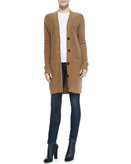 Vince Oversized V-Neck Cardigan, Basic Tee & Dylan Skinny Jeans