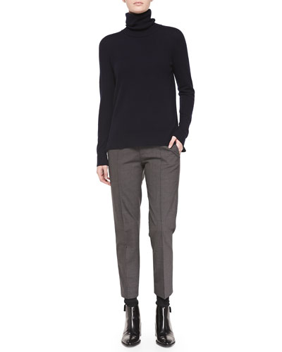 Vince Cashmere Turtleneck Sweater & Pintuck Leather-Tab Pants