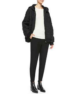 Stella McCartney Swirl-Embroidered Quilted Coat and Relaxed Narrow-Leg Stirrup Pants