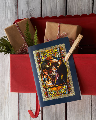 "Carlson Craft ""Nativity Stained Glass"" Personalized Holiday Greeting Cards"