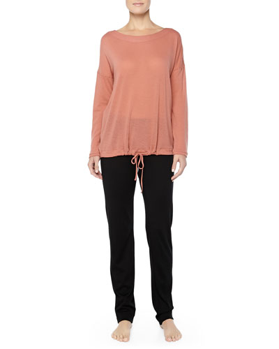 Hanro Mercerized Cashmere-Blend Top & MOMA Wool-Silk Pants