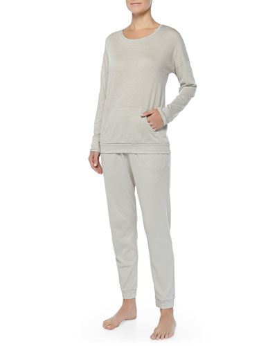 Hanro Cashmere-Blend Soho Dolman-Sleeve Top & Drawstring Pants, Pergament