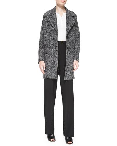 ATM Tweedy Fleece Long Overcoat, Micro-Rib Jersey Henley & Wide-Leg Belted Faille Pants