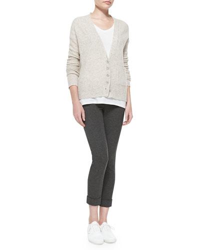 ATM V-Neck Knit Cardigan, Classic V-Neck Cotton Tee & Cropped Ponte Stretch Pants