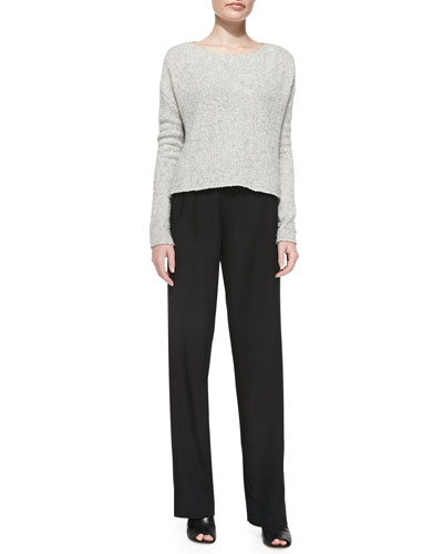 ATM Raw-Edge Boxy Knit Sweater & Wide-Leg Belted Faille Pants