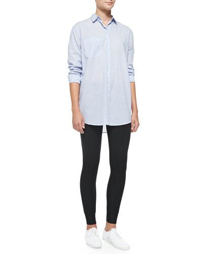 ATM Oversize Cotton Boyfriend Dress Shirt & Full-Length Double-Layer Yoga Tights