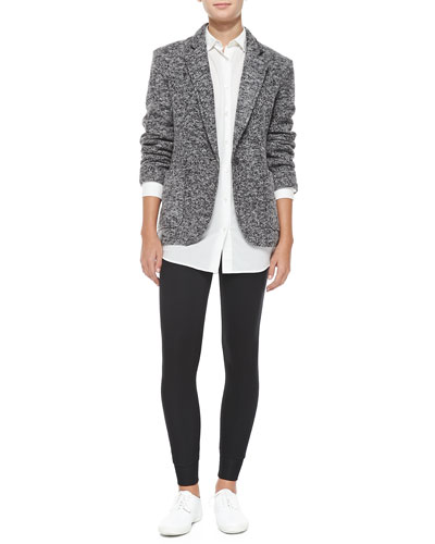 ATM Tweedy Fleece Boyfriend Blazer, Oversize Cotton Boyfriend Shirt & Full-Length Double-Layer Yoga Tights