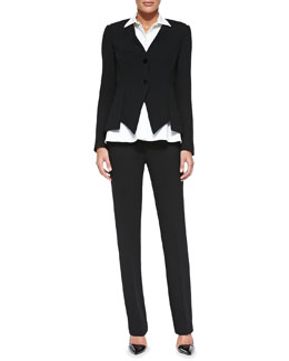 Cushnie et Ochs Collarless Asymmetric-Hem Jacket, Sleeveless Buttoned Blouse & Slim Leather-Trim Trousers