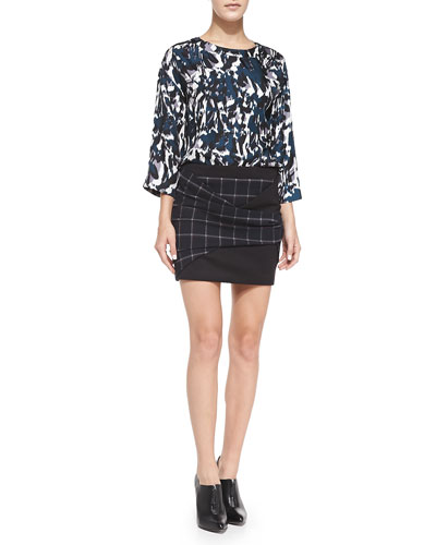 Thakoon Addition Draped Open-Back Printed Top & Plaid Crepe Folded Miniskirt