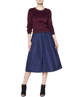 Burberry London Velvet Crewneck Sweater and Full Pleated Pocket Skirt