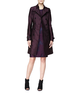Burberry London Fil Coupe Double-Breasted Trenchcoat & Short-Sleeve Lace-Embroidered Dress