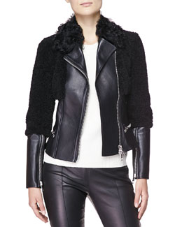 Burberry London Fitted Leather/Shearling Fur Biker Jacket & Cashmere Crewneck Sweater