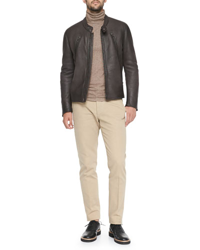 Maison Martin Margiela Shearling-Lined Leather Moto Jacket, Bonded Jacquard Turtleneck & Garment Dyed Slim-Fit Trousers