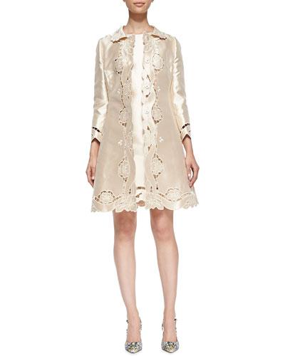 Dolce & Gabbana Laser-Cut Silk Mikado Topper Coat & Champagne Dress