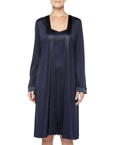 Hanro Broadway Satin-Trimmed Chemise & Grand Central Robe, Ink