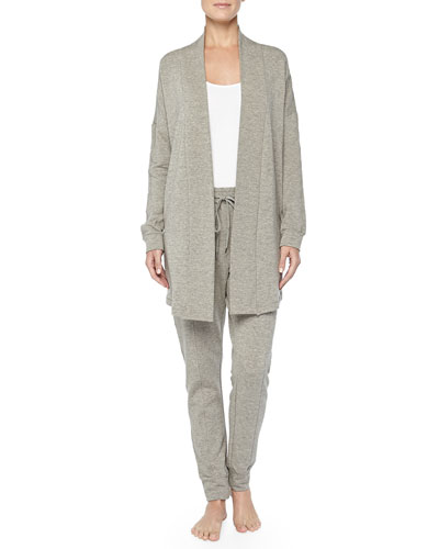 Hanro West Broadway French Terry Open-Front Cardigan & Sweatpants, Griege Melange