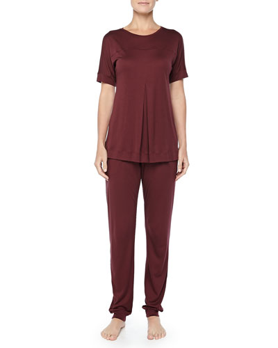 Hanro Tribeca Short-Sleeve Inverted-Pleat Top & Jersey Pleated Pants, Maroon