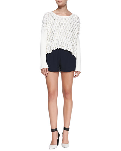 sass & bide Scalloped Beaded Knit Coverup Sweater & Accelerated Joy Pleated Georgette Shorts