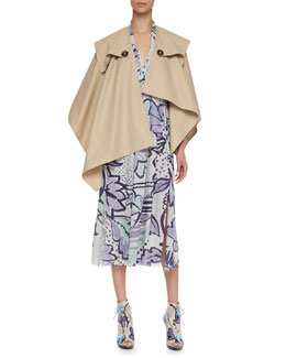 Burberry Prorsum Classic Cotton Trench Cape & Painted Pleated Silk Dress