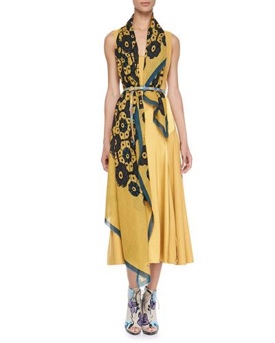 Burberry Prorsum Geometric Floral Scarf & Silk Chevron Paneled Dress