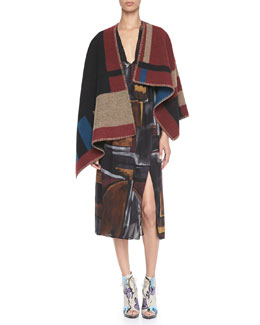 Burberry Prorsum Check Blanket Poncho & Smocked Painted Silk Dress