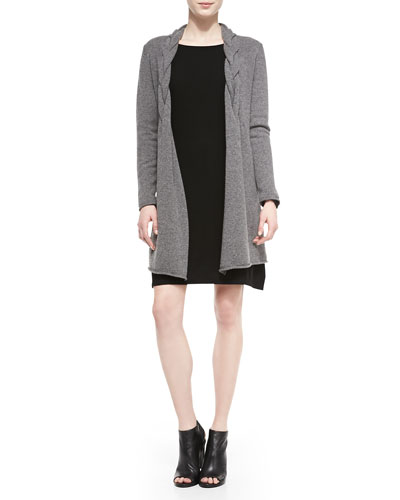 Neiman Marcus Long Braided Cashmere Cardigan & Long-Sleeve Bateau-Neck Cashmere Dress
