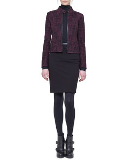Akris punto Tweed Zip Biker Jacket, Mock-Neck Top & Jersey Skirt with Faux-Leather Trim