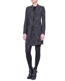 Akris punto Shawl-Collar Tweed Coat and Tweed-Panel Sheath Dress