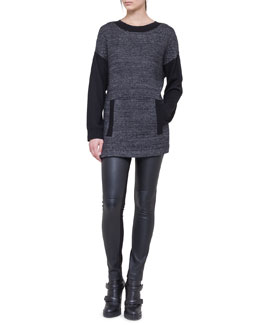 Akris punto Knit Tunic with Front Pockets & Leather-Front Leggings