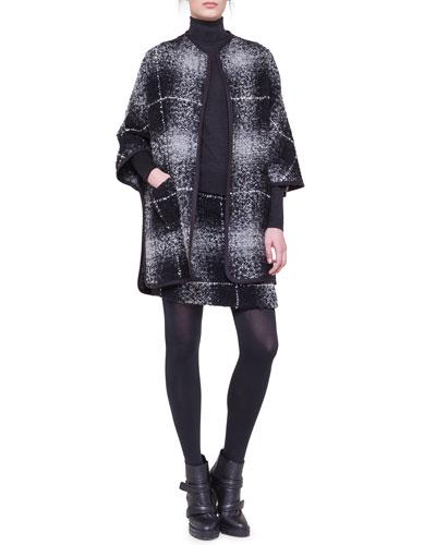 Akris punto Oversize-Check Combo Boucle Cape & Combo Skirt