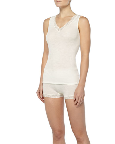 Hanro Lace-Trimmed Wool-Silk Tank Top & Boxer Shorts