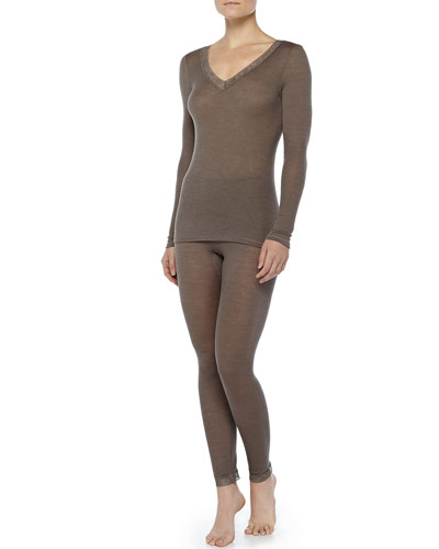 Hanro Lace-Trimmed Wool-Silk Long-Sleeve Tee & Leggings, Dusty Olive