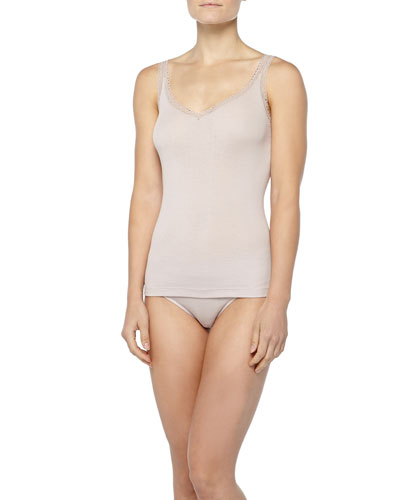 Hanro 7th Avenue Lace-Trimmed Silk Jersey Tank Top & High-Cut Briefs, Rose Dawn