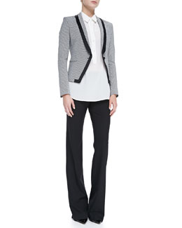 Jason Wu Long-Sleeve Jacquard Fitted Blazer, Silk Long-Sleeve Blouse & Stretch Wool Boot-Cut Pants