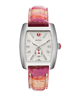 MICHELE Urban Stainless Diamond-Dial White Watch Head & 20mm Urban Vintage Red Stripe Strap