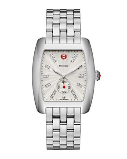 MICHELE Urban Stainless Diamond-Dial White Watch Head & 20mm Urban Bracelet