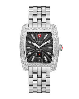 MICHELE Urban Diamond Stainless Black-Dial Watch Head & 20mm Urban Bracelet