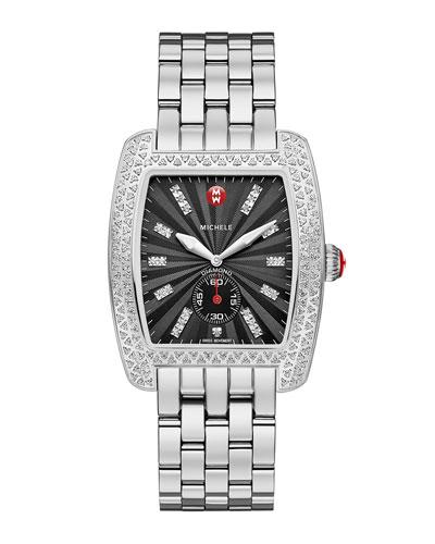 MICHELE Urban Diamond Stainless Black-Dial Watch Head & 20mm Urban Bracelet