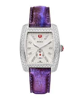 MICHELE Urban Diamond Stainless White-Dial Watch Head & 16mm Urban Vintage Purple Snakeskin Strap