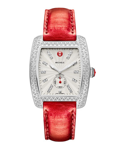 MICHELE Urban Diamond Stainless White-Dial Watch Head & 20mm Urban Vintage Red Snakeskin Strap