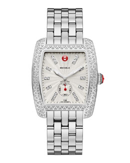 MICHELE Urban Diamond Stainless White-Dial Watch Head & 20mm Urban Bracelet