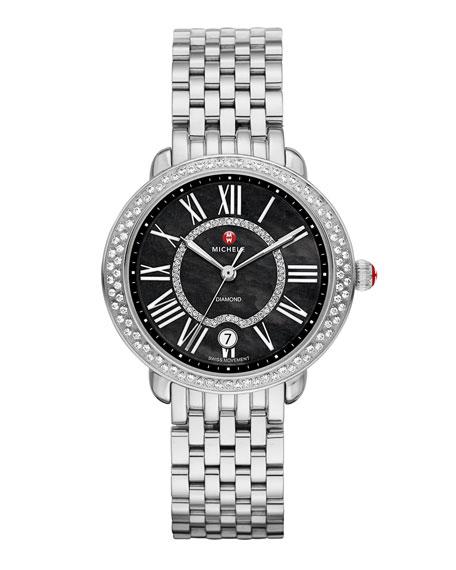 MICHELE Serein 16mm Diamond Stainless Watch Head, Black