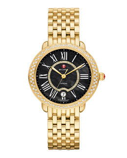 MICHELE Serein 16 Diamond Gold Plated Watch Head & 16mm Bracelet Strap