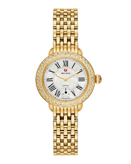 MICHELE Serein 12mm Diamond Gold Plated White Watch Head & 12mm 7-Link Bracelet