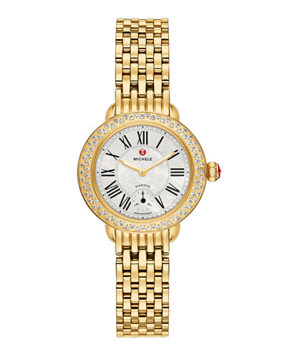 MICHELE Serein 12mm Diamond Gold Plated White Watch