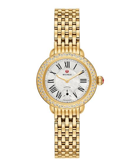 MICHELE Serein 12mm Diamond Gold Plated Watch Head,