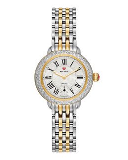 MICHELE Serein 12mm Diamond Two-Tone White Watch Head & 12mm 7-Link Bracelet