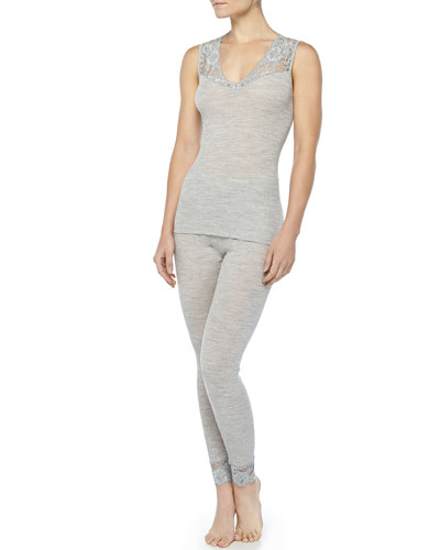 Hanro Met Lace-Inset Wool-Silk Tank Top & Leggings, Light Melange