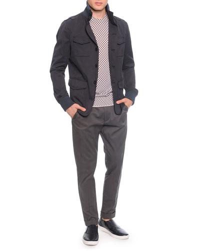 Gabardine Field Jacket, Polka-Dot/Stripe Tee & Gabardine Trousers